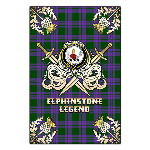 Garden Flag Elphinstone Clan Crest Golf Courage  Gold Thistle