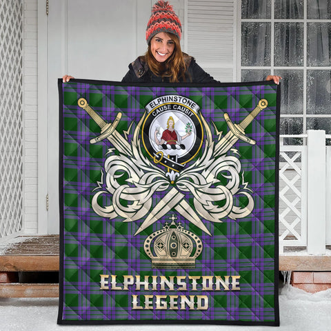 Elphinstone Clan Crest Tartan Scotland Clan Legend Gold Royal Premium Quilt