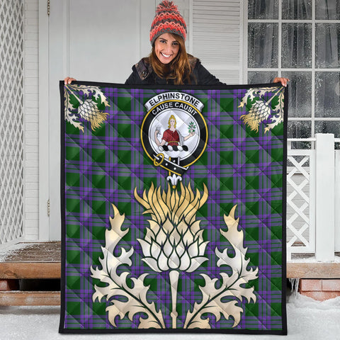 Image of Elphinstone Clan Crest Tartan Scotland Thistle Gold Royal Premium Quilt