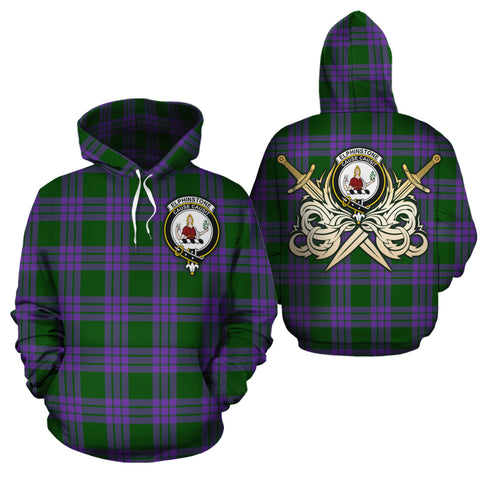 Elphinstone Clan Crest Tartan Scottish Gold Thistle Hoodie