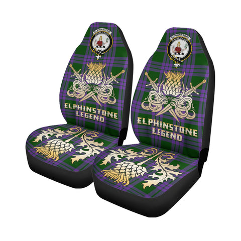 Car Seat Cover Elphinstone Clan Crest Gold Thistle Courage Symbol K9