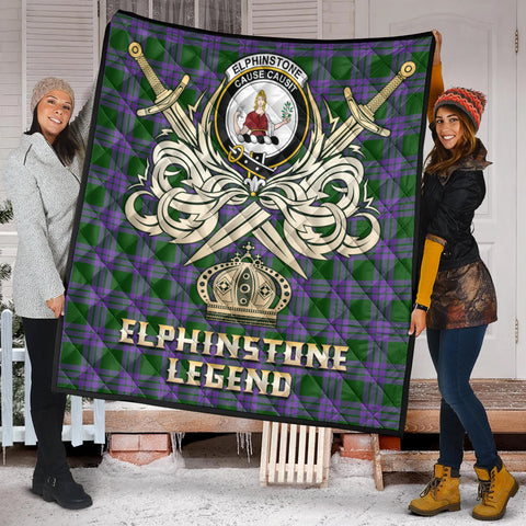 Elphinstone Clan Crest Tartan Scotland Clan Legend Gold Royal Premium Quilt K9