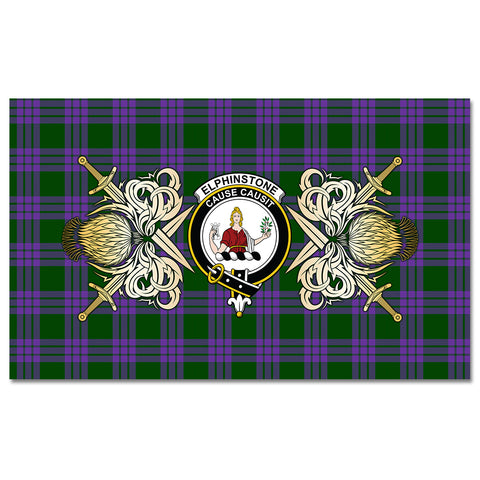 Tablecloth Elphinstone Clan Crest Courage Symbol Special Version