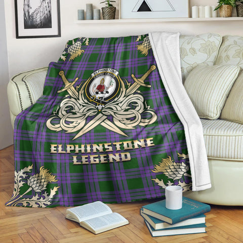 Image of Premium Blanket Elphinstone Clan Crest Gold Courage Symbol