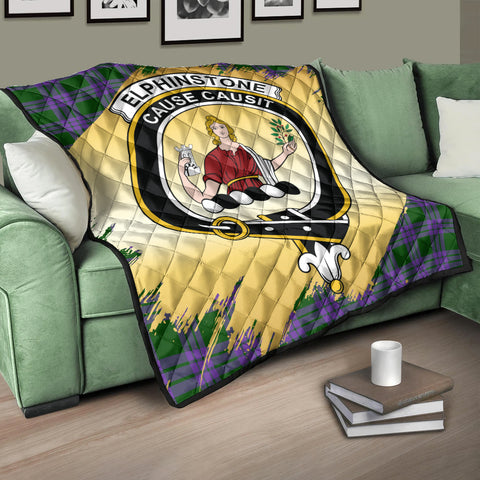 Image of Elphinstone Clan Crest Tartan Scotland Gold Royal Premium Quilt K9