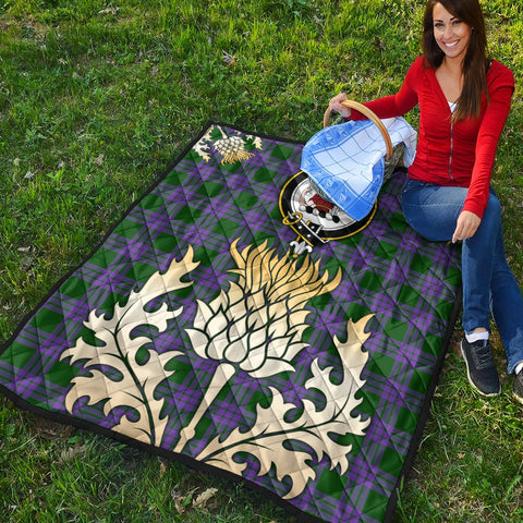 Image of Elphinstone Clan Crest Tartan Scotland Thistle Gold Royal Premium Quilt K9