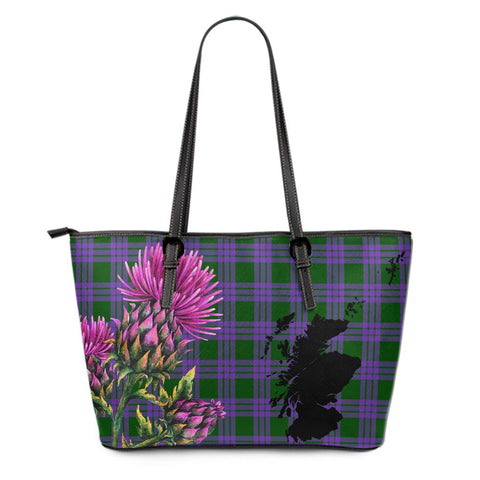 Elphinstone Tartan Leather Tote Bag Thistle Scotland Maps A91