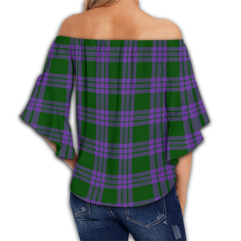 Elphinstone Tartan Crest Off Shoulders Wrap Waist Top