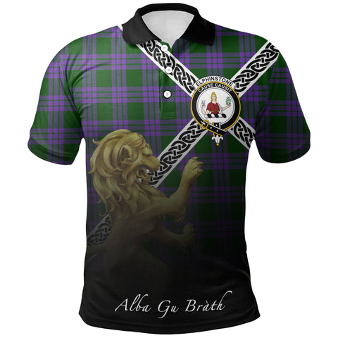 Elphinstone Polo Shirts Tartan Crest Celtic Scotland Lion A30