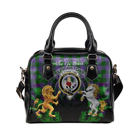 Elphinstone Crest Tartan Lion Unicorn Thistle Shoulder Handbag