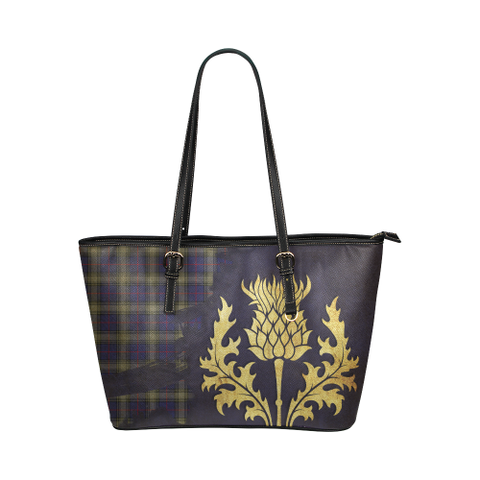 Kinnaird Tartan - Thistle Royal Leather Tote Bag