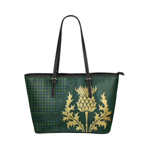 Lyon Clan Tartan - Thistle Royal Leather Tote Bag