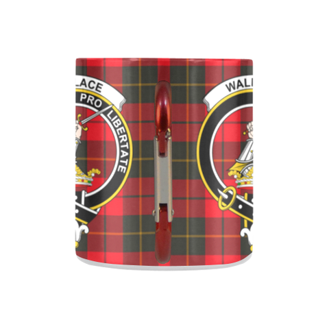 Wallace Weathered Tartan Mug Classic Insulated - Clan Badge K7
