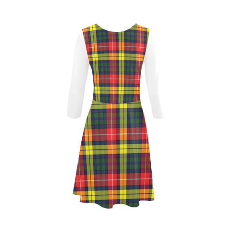 Image of Buchanan Modern Tartan 3/4 Sleeve Sundress | Exclusive Over 500 Clans