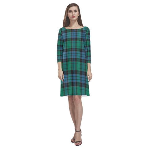 Image of Stewart Old Ancient Tartan Dress - Rhea Loose Round Neck Dress TH8