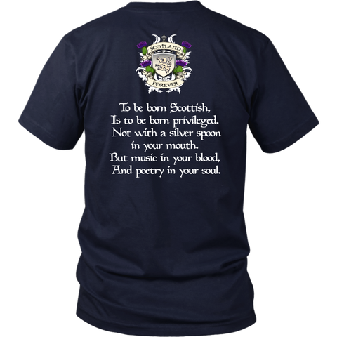 Image of Gray Tartan T-Shirt - Scottish Proverb K7