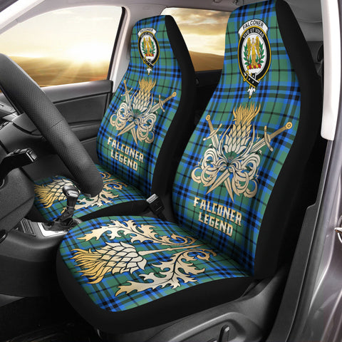 Car Seat Cover Falconer Clan Crest Gold Thistle Courage Symbol