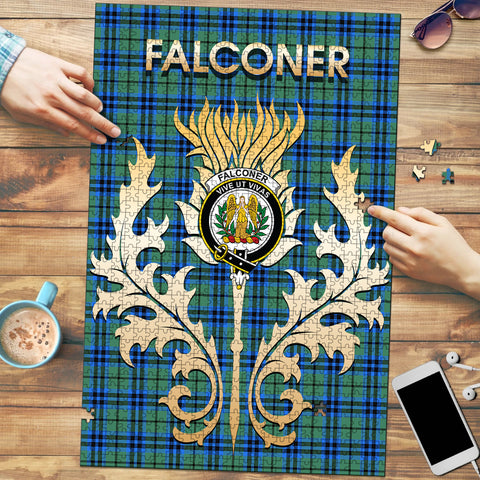 Falconer Clan Name Crest Tartan Thistle Scotland Jigsaw Puzzle