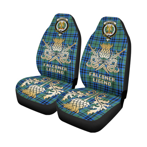 Car Seat Cover Falconer Clan Crest Gold Thistle Courage Symbol K9
