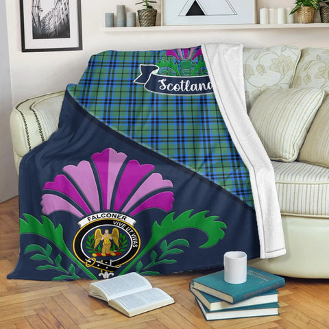 Falconer Crest Tartan Blanket Scotland Thistle | Tartan Home Decor | Scottish Clan