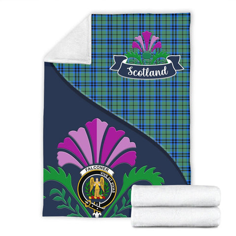 Falconer Crest Tartan Blanket Scotland Thistle A30
