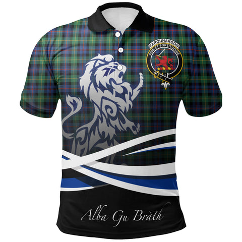 Farquharson Ancient Polo Shirts Tartan Crest Scotland Lion A30