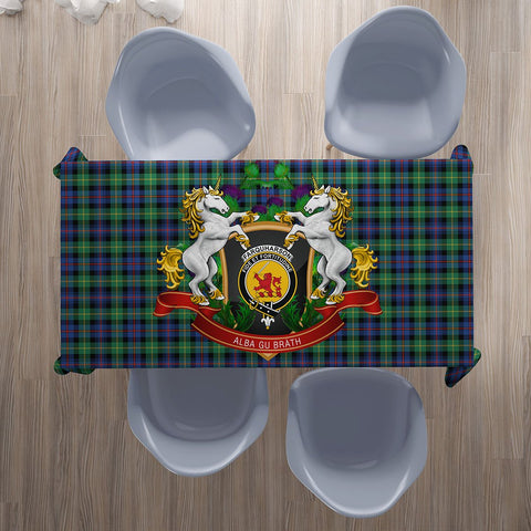 Image of Farquharson Ancient Crest Tartan Tablecloth Unicorn Thistle | Home Decor
