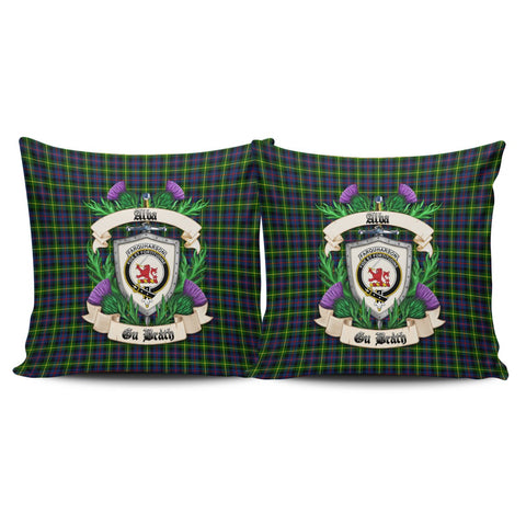 Farquharson Modern Crest Tartan Pillow Cover Thistle (Set of two) A91 | Home Set