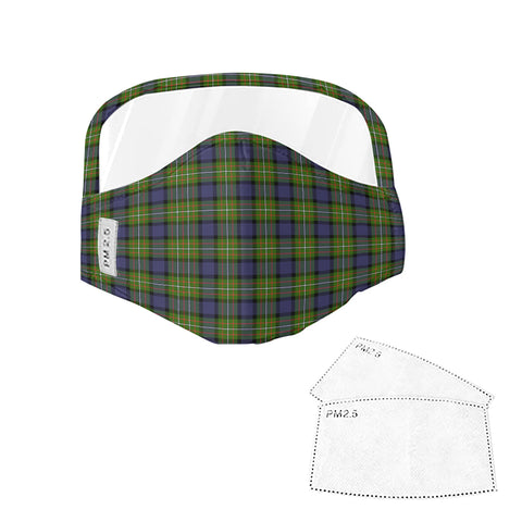 Fergusson Modern Tartan Face Mask With Eyes Shield - Blue & Green  Plaid Mask TH8