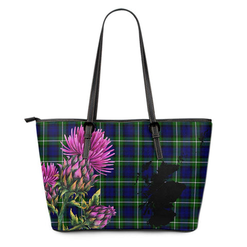 Forbes Modern Tartan Leather Tote Bag Thistle Scotland Maps A91