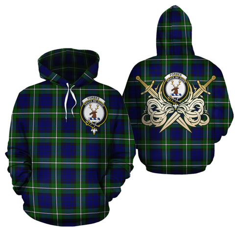 Forbes Modern Clan Crest Tartan Scottish Gold Thistle Hoodie
