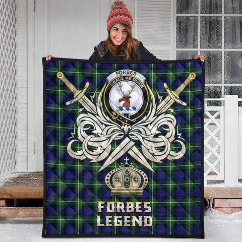 Forbes Modern Clan Crest Tartan Scotland Clan Legend Gold Royal Premium Quilt