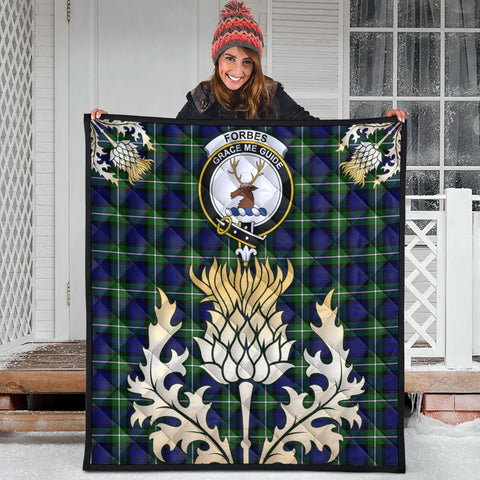 Image of Forbes Modern Clan Crest Tartan Scotland Thistle Gold Royal Premium Quilt