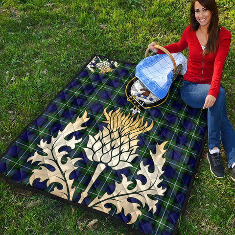 Image of Forbes Modern Clan Crest Tartan Scotland Thistle Gold Royal Premium Quilt K9