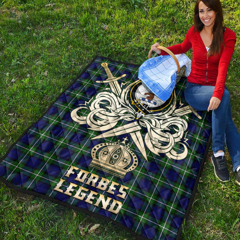 Forbes Modern Clan Crest Tartan Scotland Clan Legend Gold Royal Premium Quilt K9