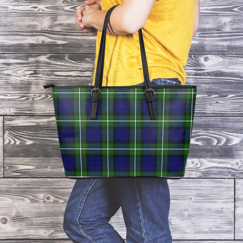 Forbes Modern Tartan Leather Tote Bag (Large) | Over 500 Tartans | Special Custom Design