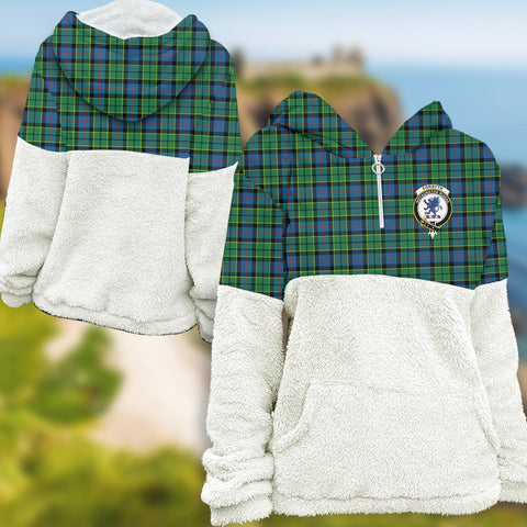 Forsyth Ancient Tartan Clan Flannel Hoodie Women A91