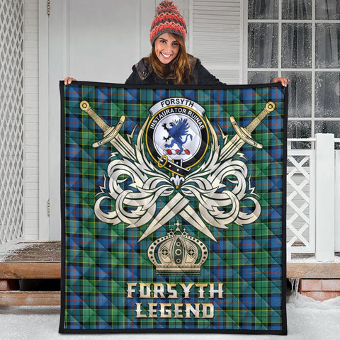 Forsyth Ancient Clan Crest Tartan Scotland Clan Legend Gold Royal Premium Quilt
