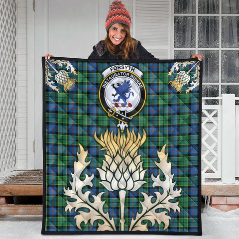 Forsyth Ancient Clan Crest Tartan Scotland Thistle Gold Royal Premium Quilt