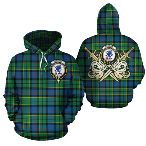 Forsyth Ancient Clan Crest Tartan Scottish Gold Thistle Hoodie