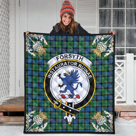 Forsyth Ancient Clan Crest Tartan Scotland Thistle Gold Pattern Premium Quilt