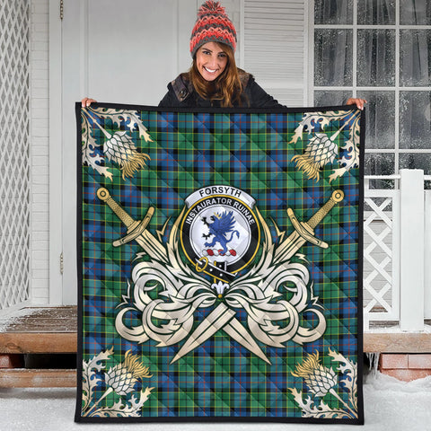 Forsyth Ancient Clan Crest Tartan Scotland Thistle Symbol Gold Royal Premium Quilt