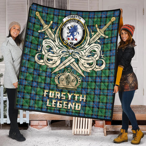 Forsyth Ancient Clan Crest Tartan Scotland Clan Legend Gold Royal Premium Quilt K9