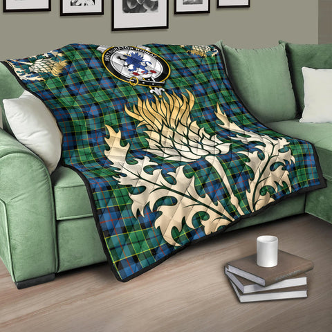 Forsyth Ancient Clan Crest Tartan Scotland Thistle Gold Royal Premium Quilt K9