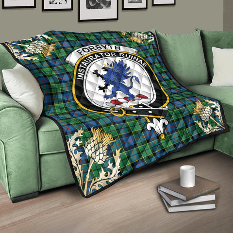 Forsyth Ancient Clan Crest Tartan Scotland Thistle Gold Pattern Premium Quilt K9