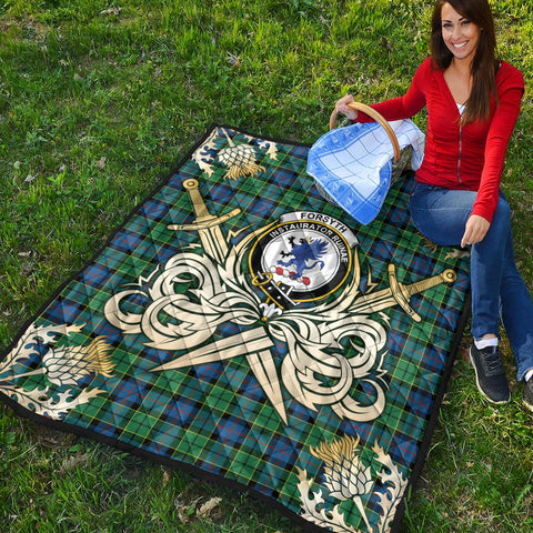 Forsyth Ancient Clan Crest Tartan Scotland Thistle Symbol Gold Royal Premium Quilt K9
