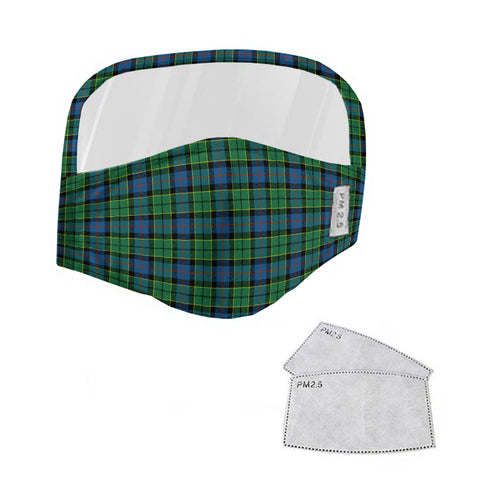 Forsyth Ancient Tartan Face Mask With Eyes Shield - Green & Blue  Plaid Mask TH8