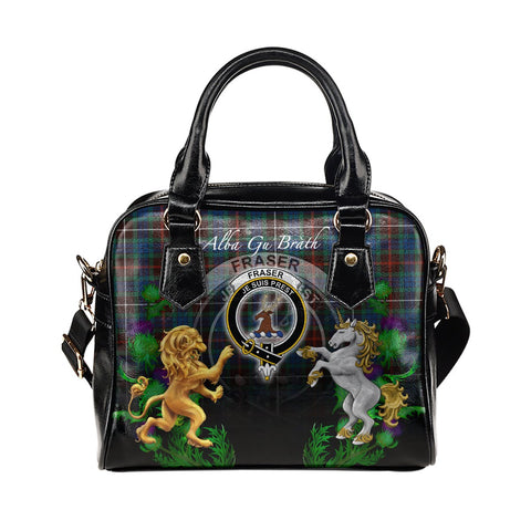 Fraser Hunting Ancient Crest Tartan Lion Unicorn Thistle Shoulder Handbag