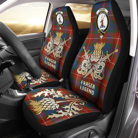 Car Seat Cover Fraser Ancient Clan Crest Gold Thistle Courage Symbol
