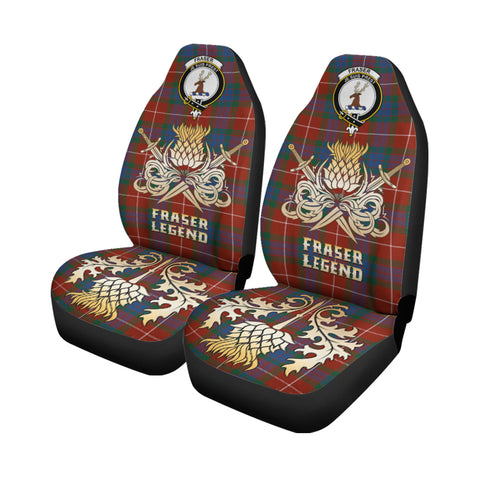 Car Seat Cover Fraser Ancient Clan Crest Gold Thistle Courage Symbol K9